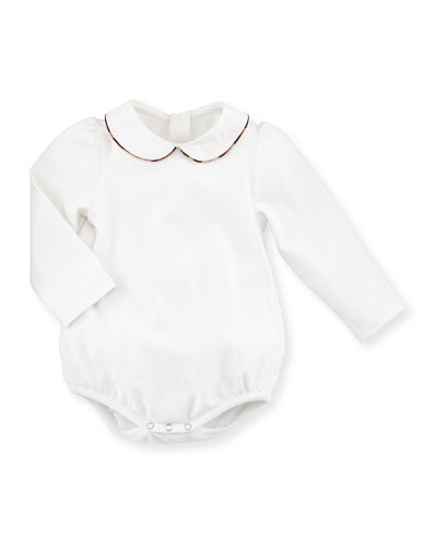 Long-Sleeve Collared Stretch Jersey Playsuit, White, Size 3-24 Months