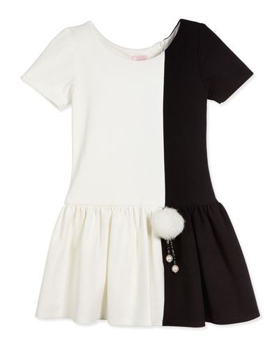 Short-Sleeve Colorblock Fit-and-Flare Dress, Ivory, Size 7-16