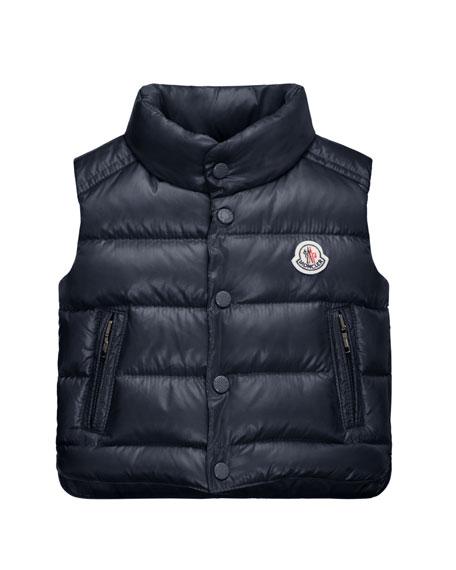 Bernard Zip-Trim Puffer Vest, Navy, Size 12M-3