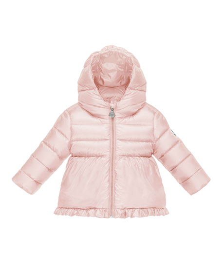 Moncler Odile Ruffle-Trim Puffer Jacket, Pastel Pink, Size