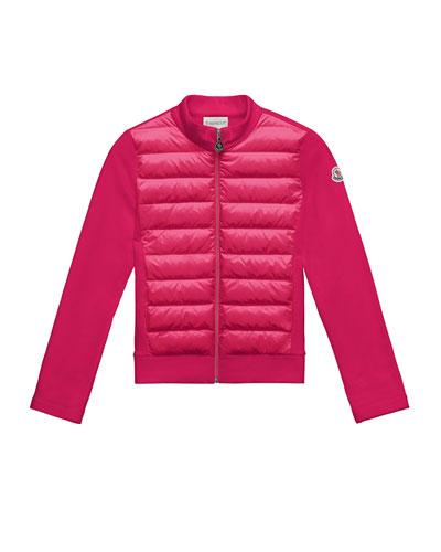 Maglia Knit Zip Cardigan w/ Down Front, Fuchsia, Size 4-6