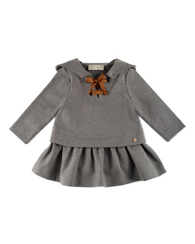 Hooded Scuba Flounce Dress, Gray, Size 2-4