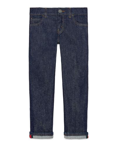 Washed Stretch Denim Jeans  Indigo  Size 4-12