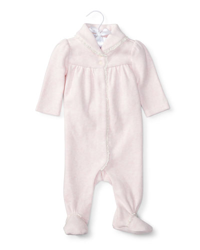 Shawl-Collar Footed Lace-Trim Pima Coverall, Size Newborn-9 Months