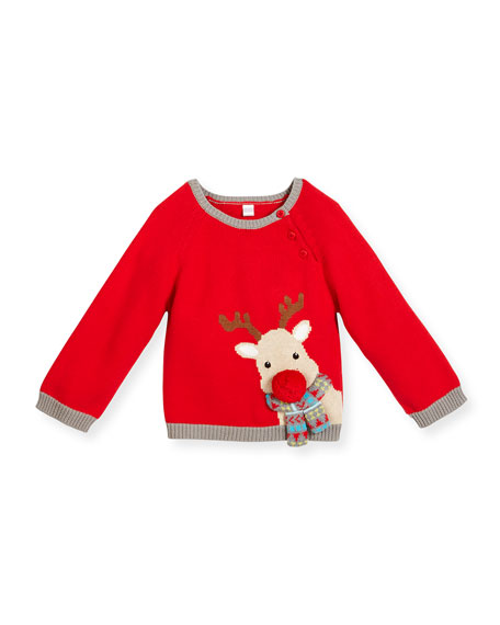 Boys' Cotton Reindeer Sweater, Red, Size 2-6X