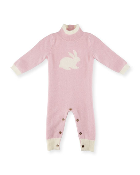 Cashmere Mock-Neck Bunny Coverall, Pink/Ivory, Size 3-12 Months
