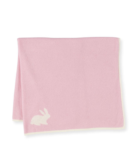 Sofia Cashmere Soft Cashmere Bunny Baby Blanket, Pink/Ivory