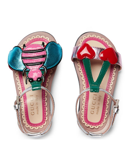 Gucci Metallic Leather Graphic Sandal, Toddler