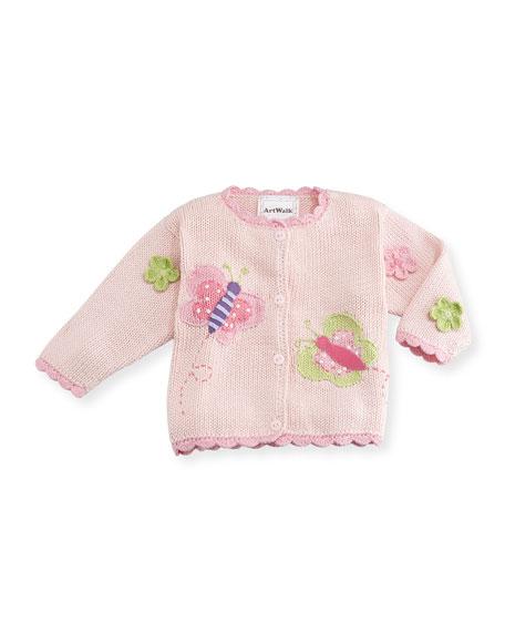 Butterflies Cotton Button-Front Sweater, Pink, Size 12-24 Months