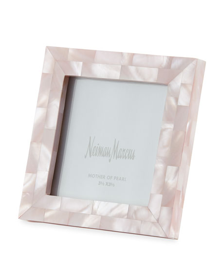 "Mother-of-Pearl Picture Frame, Pink, 3.5"" x 3.5"""