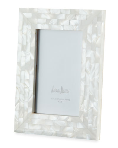 Mother-of-Pearl Picture Frame  White  4 x 6