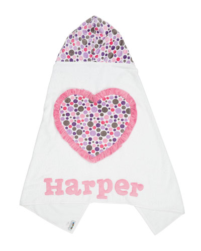 Personalized Ruffle Heart Hooded Towel  White