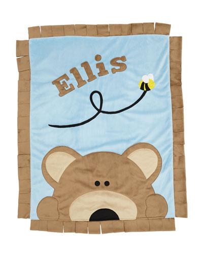 Personalized Peek-a-Boo Bear Plush Blanket  Brown