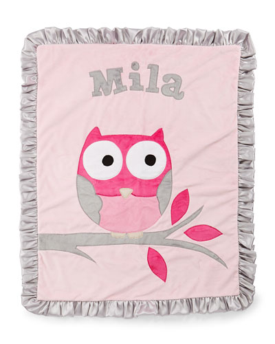 Personalized  It's a Hoot Plush Blanket  Pink