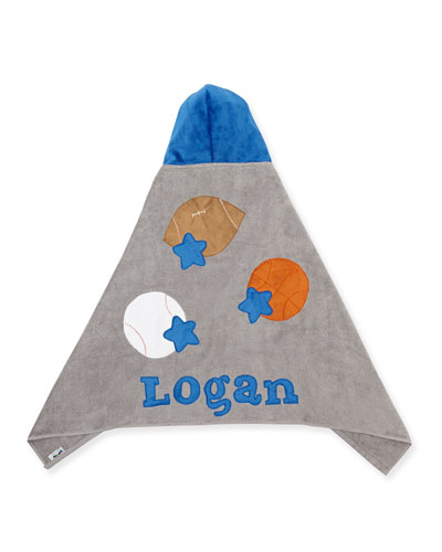 Personalized Good Sport Hooded Towel  Gray/Blue