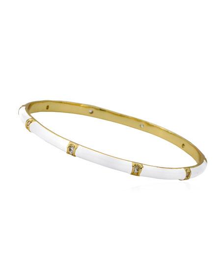 Girls' 14k Gold Plated Brass Station Enamel Bangle, White
