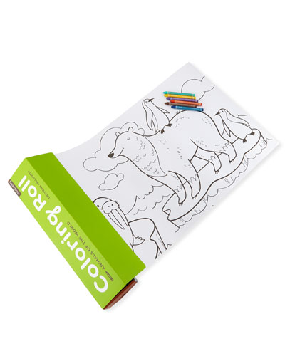 Kids' Animals of the World Coloring Roll with Crayons