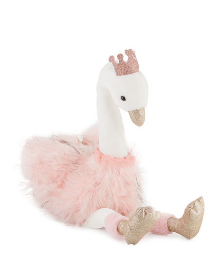 """Stuffed Swan Toy with Crown, 32"""""""