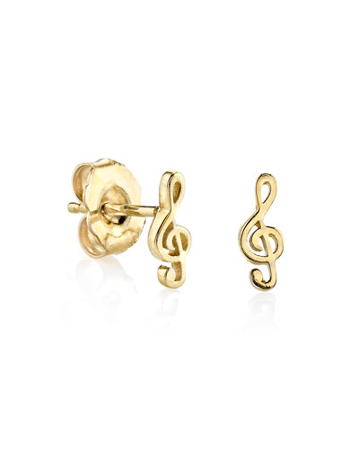 Girls' Treble Clef Stud Earrings