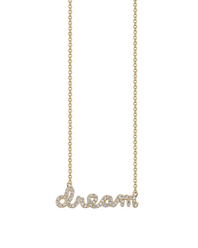 14k Yellow Gold Dream Script Necklace  Youth 7-14