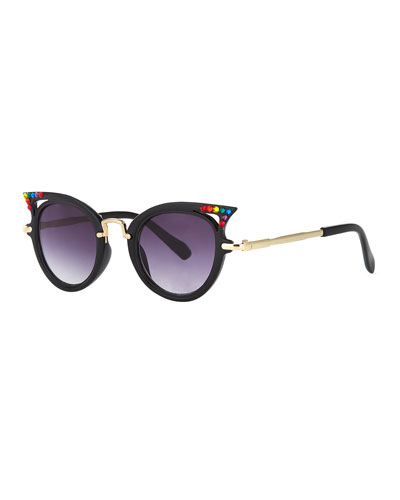 Kids' Cat-Eye Sunglasses w/ Rainbow Swarovski Crystals