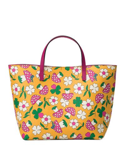 Kid's Flower Mushroom-Print Tote Bag