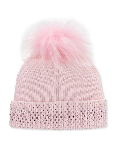 Girl's Crystal Trim Rib Knit Beanie Hat w/ Fox Fur Pompom