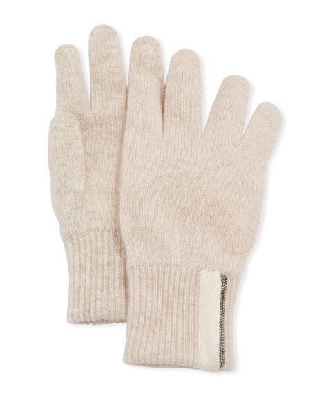 Girl's Cashmere Gloves with Monili, Size 6