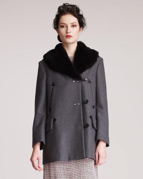 Shearling-Collar Coat