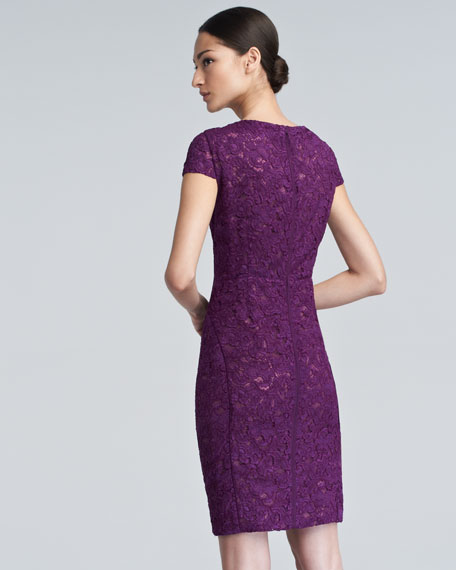 Crewneck Bonded Lace Dress, Viola