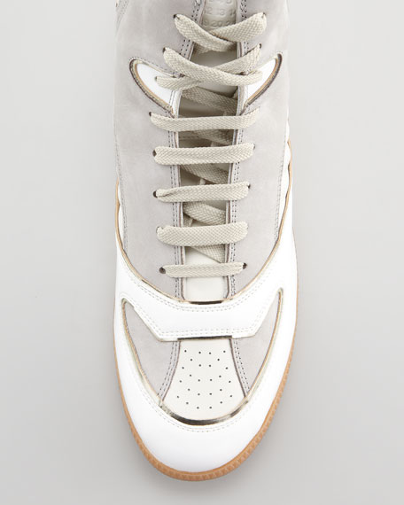 Multi-Leather Hi-Top Sneaker, White
