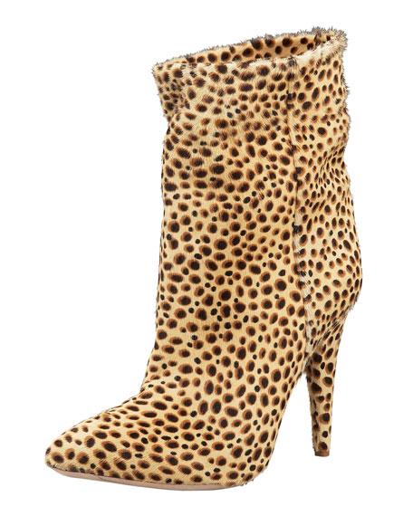 Cheetah-Printed Calf Hair Bootie