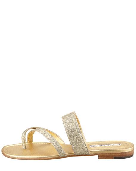 Susa Flat Glitter Sandal, Gold