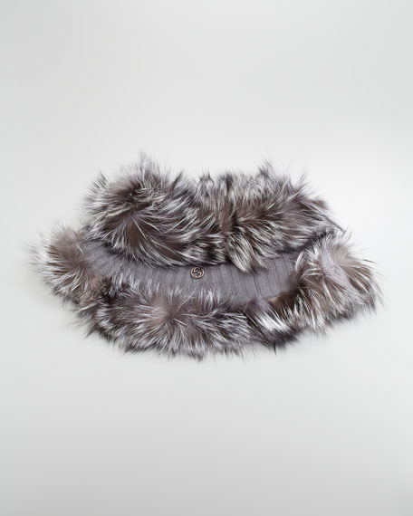 Fox Fur-Trim Cashmere Cape