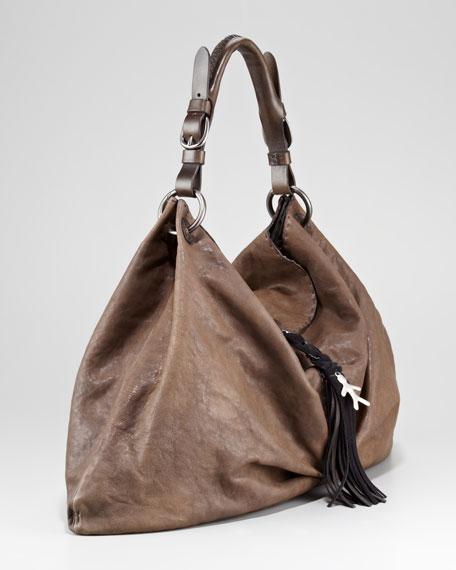 Fringe Buckled Hobo Bag