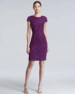 J. Mendel Crewneck Bonded Lace Dress, Viola