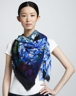 Peter Pilotto Carnation-Print Silk Scarf