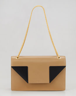 Saint Laurent Betty Bicolor Chain Shoulder Bag, Beige