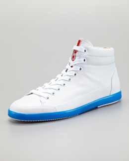 Prada Hi-Top Neon-Sole Sneaker