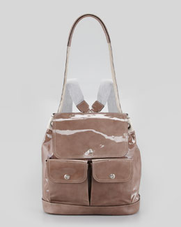 Brunello Cucinelli Suede and Patent Leather Backpack, Taupe
