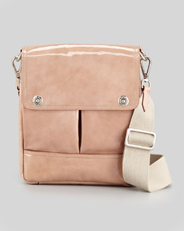 Brunello Cucinelli Patent Pouch-Pocket Crossbody Bag, Blush