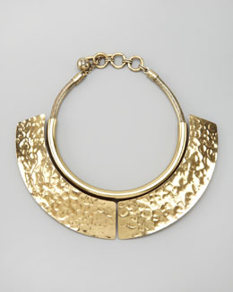 Lanvin Hammered Breastplate Necklace