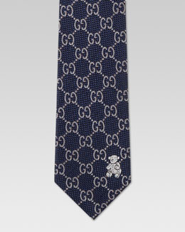 Gucci Children's GG Print Silk Tie, Midnight Blue/Sky Blue