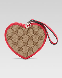 Gucci Girls' Micro Guccissima Heart Wristlet, Beige Ebony/Dark Watermelon