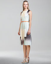 Carolina Herrera Modern Art-Print Twill Dress