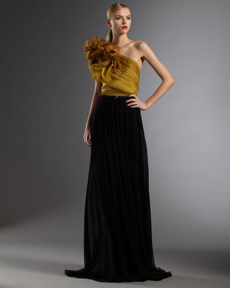 Belted One-Shoulder Gown