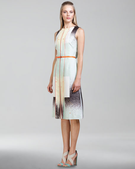 Modern Art-Print Twill Dress