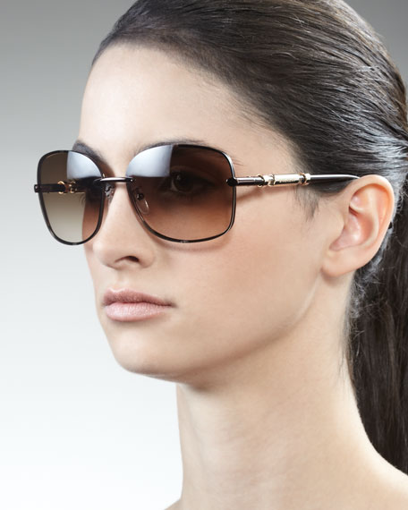 Logo-Arm Metal Sunglasses