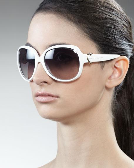 Large Heart Sunglasses, White