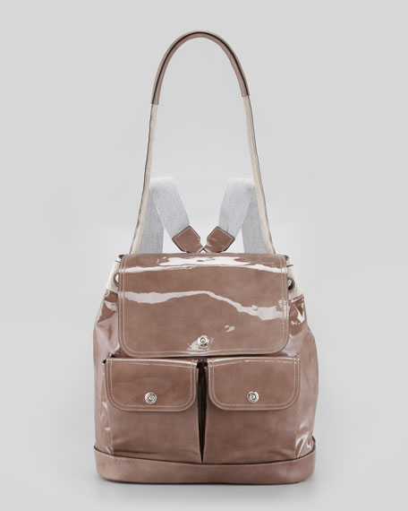 Suede and Patent Leather Backpack, Taupe